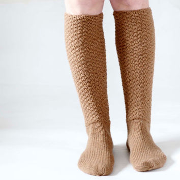 Knee High Knitted Socks Woman Brown Autumn/Winter Socks Warm and Cozy