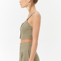 Linen-Blend Button-Front Cropped Cami