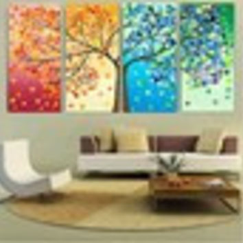 2016 40x60x4 Four Seasons Tree Wall Canvas Painting Art Decoration Picture Prints Oil Painting for Home Living Room Wedding Decration No Frame Mom Dad Friends Lover Gifts Women