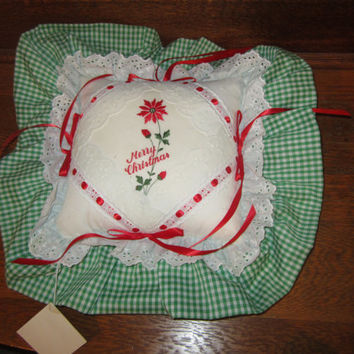 Vintage Christmas Pillow Green and White Gingham Trimmed in Eyelet Lace and Red Ribbon