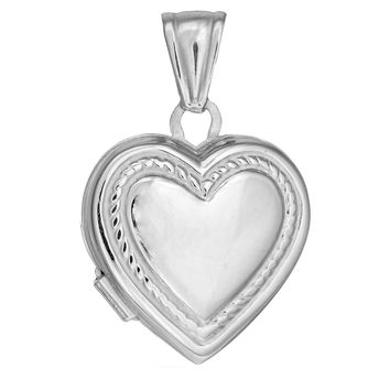 Sterling Silver With Rhodium Finish Shiny Locket Heart Pendant With Rope Trim - 20 x 25 mm