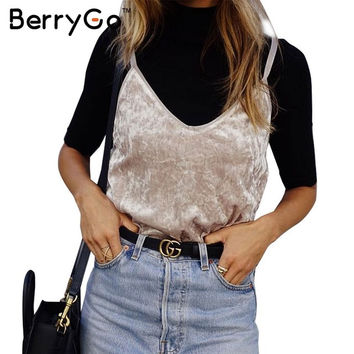 BerryGp Autumn velvet camisole women tops strap Sexy v neck black camis vintage tank top Winter 2016 casual party club tube top