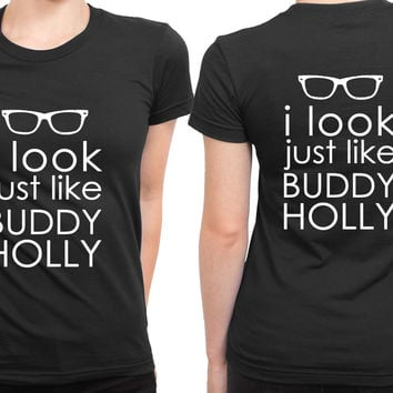 Weezer Buddy Holly Lyrics Poster Part One 2 Sided Womens T Shirt