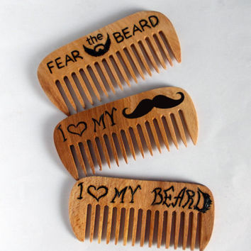 Beard Comb, Set of 3 combs, wooden combs, Moustache comb, Custom comb, Hair comb, for Him, Dad Gift, wood burned, fathers day gift