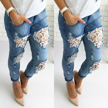 Jeans Woman Spring Summer New Fashions 2018 Plus Size Slim Fitted Ripped Jeans Female Casual Skinny Hole Pencil Lace Pants