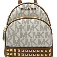 Michael Michael Kors Abbey Extra Small Signature Studded Backpack Vanilla/acorn
