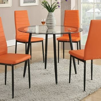 5 pc Mid Century collection round glass top and orange faux leather table and chairs