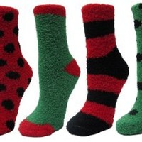 Fuzzy and Soft Christmas Socks, 6 Pack, Size 9-11.