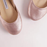Rose Gold Ballet Flats | Leather Shoes | Elegant Chic Unique Ballerinas | Rose Gold... Low Stock // LAST PAIRS ... Ready to Ship