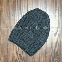 SLOUCHY THICK CABLE KNIT BEANIE