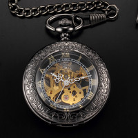 Roman Steampunk Skeleton Mechanical Pocket Watch with Chain