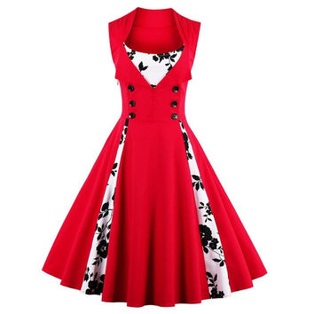 Plus Size S-5XL Vintage 50s 60s Rockabilly Flowers Dot Print Swing Dress 2017 Summer Women Retro Party Elegant Dresses Vestidos