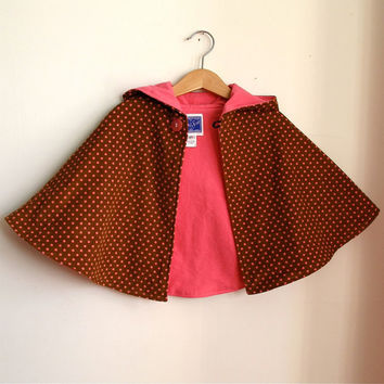 Brown and Pink Dot Corduroy Hooded Toddler Girls Cape - Size 2T - Ready to Ship - Children's Cape, cloak, coat, jacket