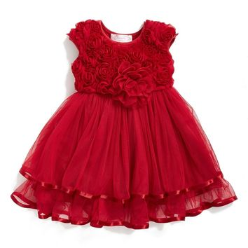 Popatu Rosette Tulle Dress (Baby Girls) | Nordstrom