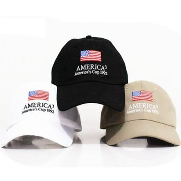 The New Trendy American Flag Embroidered Cotton Baseball Cap Hats