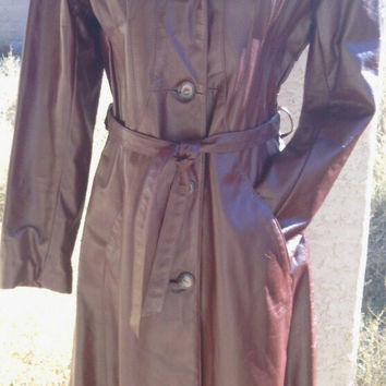 Leather coat authentic 70's vintage Fay's size 8 brown long tie waist button front mod disco retro look 4 button front