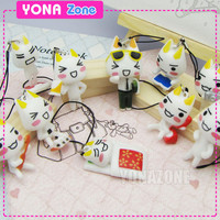 New Inoue Toro Cat Phone Straps Kawaii Charms Cute Kitty Keychains~10pc/set