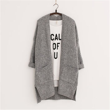 2016 Long Women Cardigans Feminino Autumn Winter Brand Long Style Knitted with Pockets Sweaters European Style LJ3724