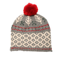 Grey Winter Forest Pom Beanie Bobble Hat by Lowie