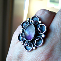 Vintage Amethyst Ring Taxco Sterling Silver Large Flower Signed MTC