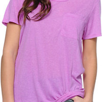 Zine Neon Purple Boyfriend Fit Pocket Tee Shirt