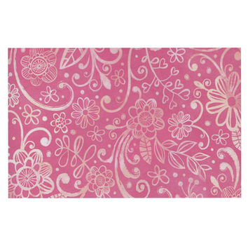 "Heidi Jennings ""Too Much Pink"" Magenta Floral Decorative Door Mat"