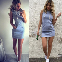 Women Casual Slim Cotton Gray Bodycon Hoodie Dress  = 5709333761