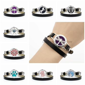 Dragonfly Unicorn My Family Tree 25mm Twist Screw Watch Essential Oil Aroma Diffuser Locket Bracelet PU Leather Band 10pcs Pad