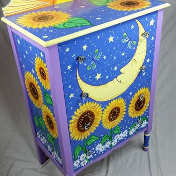 SOLD sample of CUSTOM WORK- Vintage Dresser- Custom Hand Painted Furniture Made to order