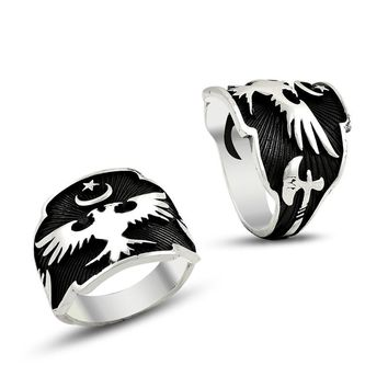 Double headed eagle and ax sterling silver band mens ring