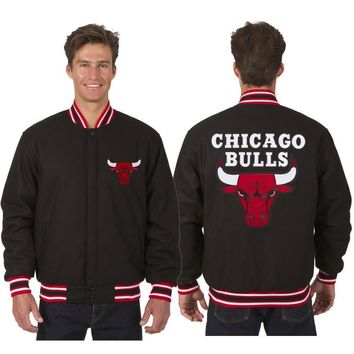 Chicago Bulls Wool Jacket with Embroidered Logos - Black Bred