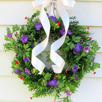 summer wreath for door, wreath front door, fixxer upper wreath, wall decor, Spring decor, door hanger, floral wreath, purple wreath