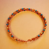 Cooper Wire Blue Yellow Beads Bracelet