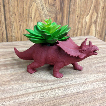 Up-cycled Burgundy Triceratops Planter