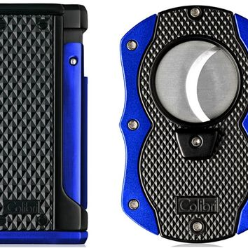 Colibri Monza Blue Triple Flame Lighter and Cigar Cutter Gift Set