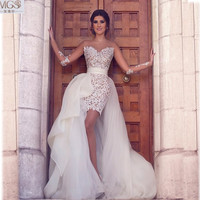 Hot Sexy 2016 STD Luxury Lace Appliqued Detachable Train Prom Dresses Long Sleeves See Through Vestido De Festa Evening Gowns