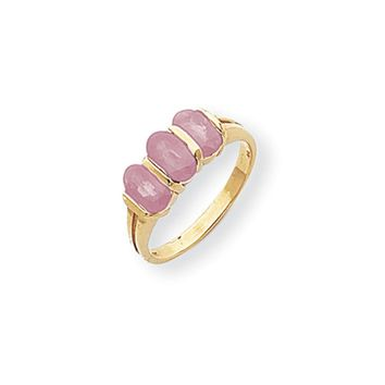 14k Yellow Gold 6x4mm Oval Pink Sapphire Ring