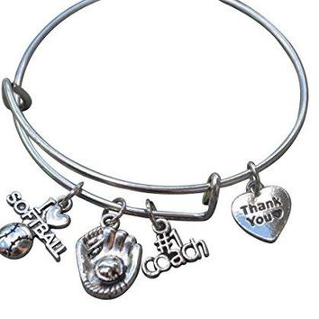 Softball Coach Bracelet - Silver