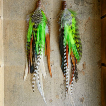 SALE: 20 Percent OFF the ENTIRE shop - Go GreenLong Feather Earrings