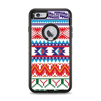 The Vector White-Blue-Red Aztec Pattern Apple iPhone 6 Plus Otterbox Defender Case Skin Set