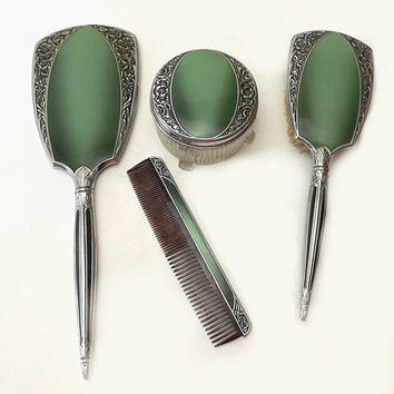 Vintage Ladies Vanity Set, Green and Chrome Embossed Roses, 4 Pc Dresser Mirror Brush Comb & Powder Jar, Mid Century Boudoir Decor