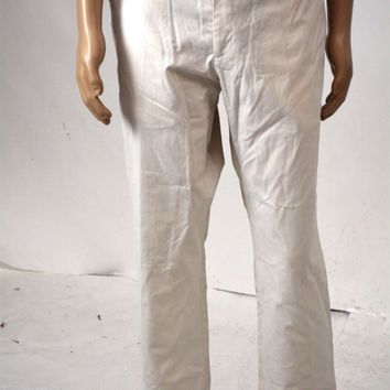 Tasso Elba Men Stretch White Regular Fit Signature Chino Dress Pant 36 x 32