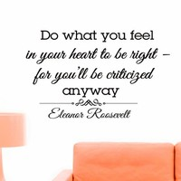 Wall Decals Quotes Eleanor Roosevelt Do What You Feel Decal Lettering Stickers Home Decor Art Mural Z783