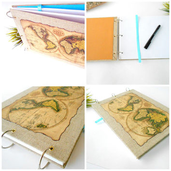 World map sketchbook journal- refillable and personizable- burnt effect old world map sketchbook with burlap fabric harcovers and a bookmark