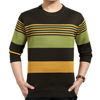 Knit Striped Ribbed Trim Sweater