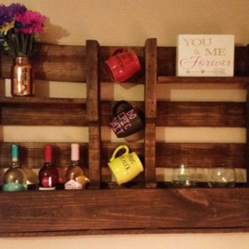 Pallet Shelf, Wine Rack, Coffee Cup Holder, Refurbished Wood, Repurposed Wood, Recycled Wood, Shelf, Kitchen Shelf, Kitchen Decor, Pallet