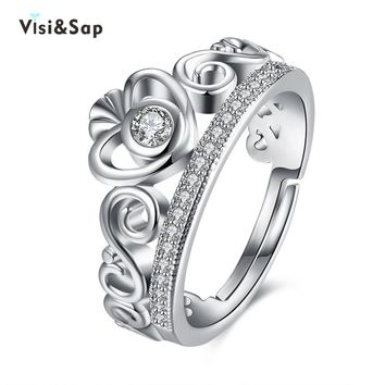 Visisap Vintage King & Queen Crown Acceorises Adjustable Rings For Men Valentine's Gifts DropShipping Fashion Jewelry VLKR948