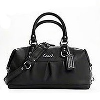 Coach Ashley Leather Sabrina Convertiable Satchel Handbag Purse 15445 Black