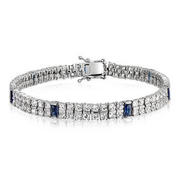 White Blue CZ 2 Row Tennis Bracelet Simulated Sapphire Silver Plated