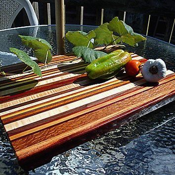 Handmade Extra Large Wood Cutting Board - The Farmers Market - Mahogany & Exotic Woods